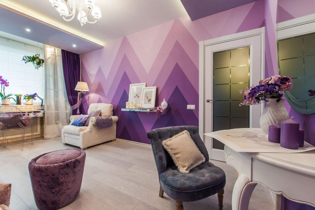 Modern styled living room with artistic wall paint
