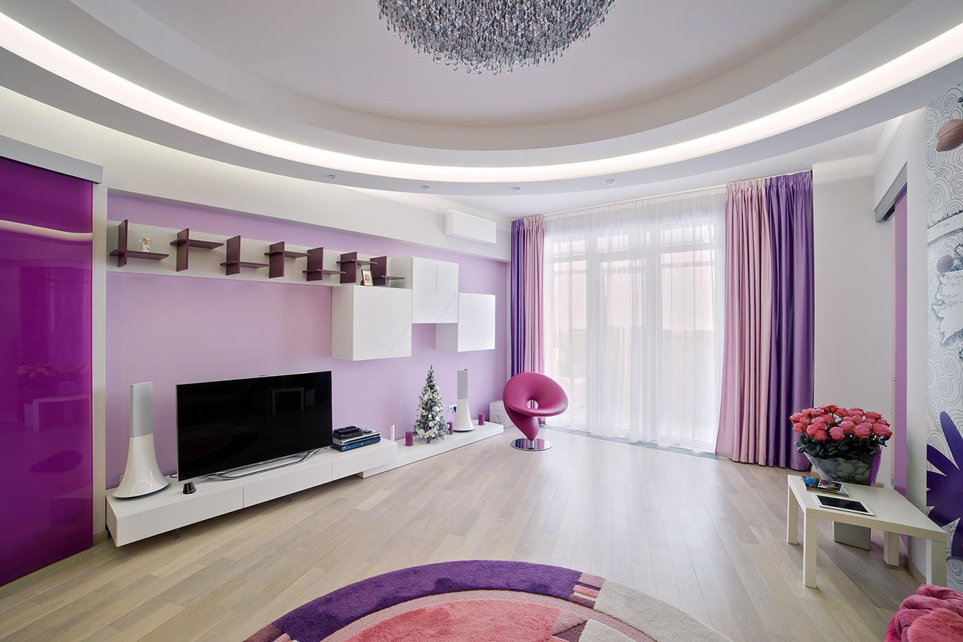 Lilac Colored Living Room: Fresh Design Ideas. Spacious modern interior with large TV