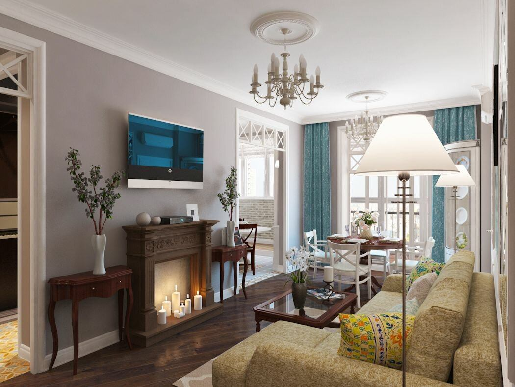 Walk-Through Living Room: Interior Design and Space Zoning. Light brown colored walls and white ceiling for spacious casual designed room