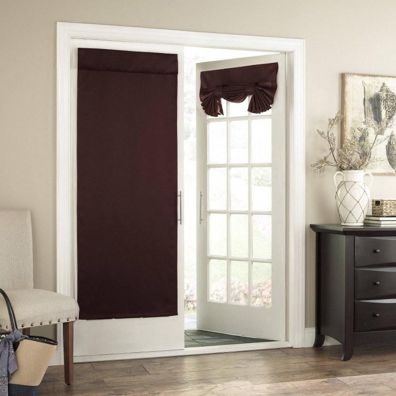 White door and dark brown interior curtain