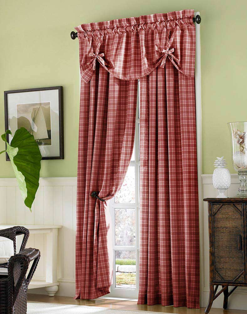 Red checkered interior curtain