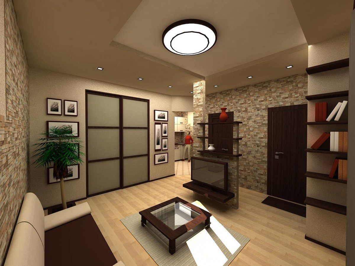 Walk-Through Living Room: Interior Design and Space Zoning. Chocolate color theme for the Oriental styled room with great artificial lighting scheme