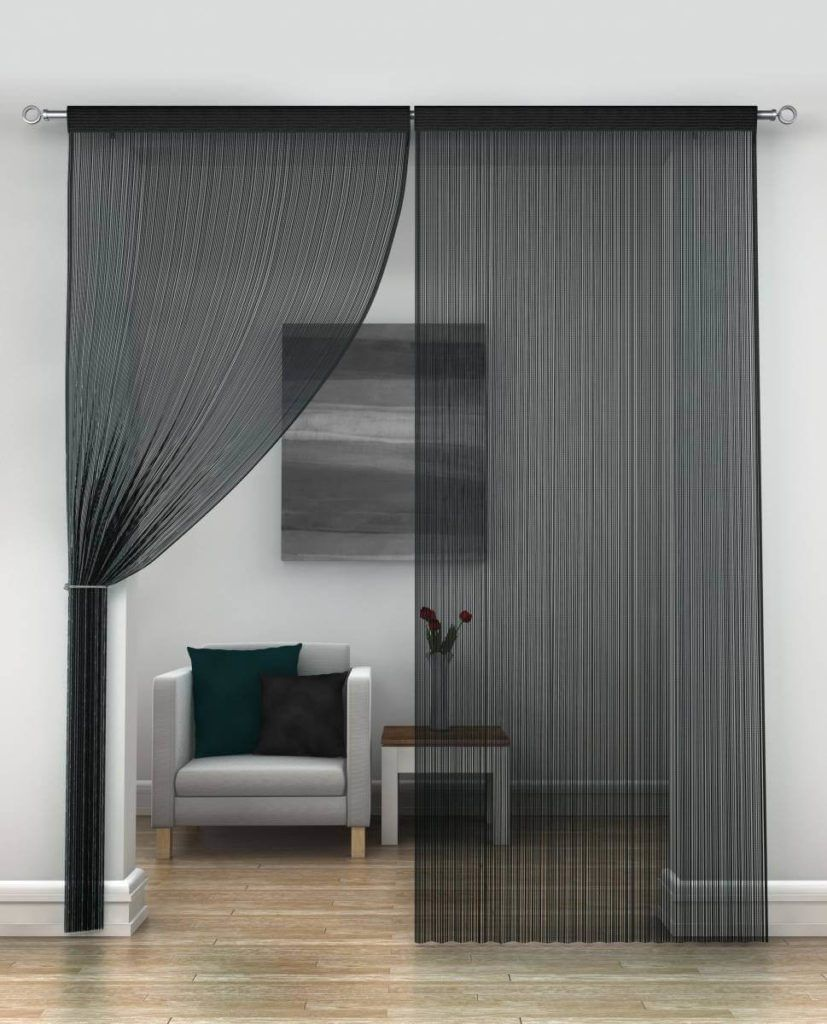 Black intimate tulle between casual styled rooms