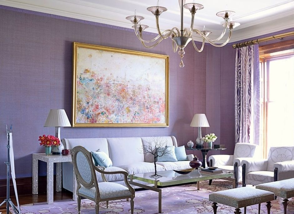 Lilac Colored Living Room: Fresh Design Ideas. All-lilac painted walls for classic interior