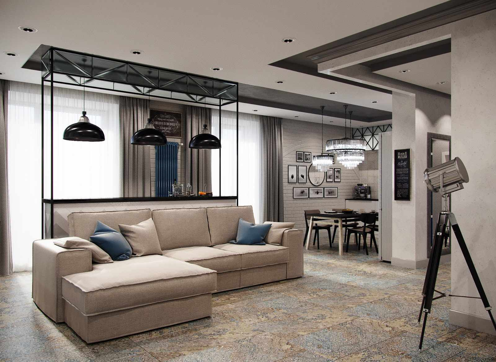 Dark wooden designed ceiling with artificial lighting zoning