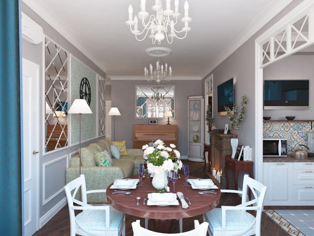 Nice Classic living room with dining zone and chandelier above it