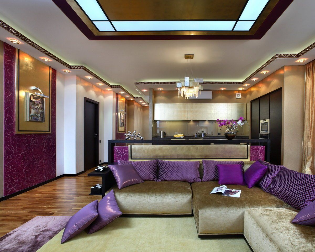 Complex LED-lighting fro modern designed lilac living room combined with dining