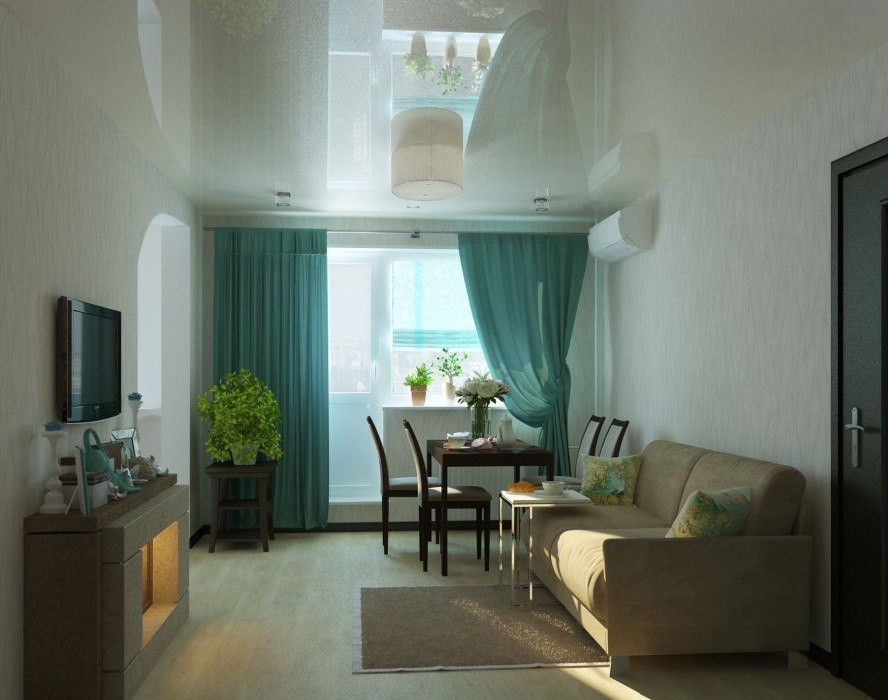 Glossy stretch ceiling for casual styled living room with emerald green curtains