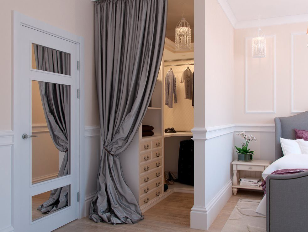 Interior Curtains: Stylish Zoning and Decoration Element. Tied up gray cloth for casual styled room dividing the wardrobe