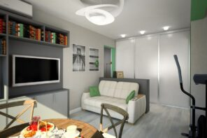Walk-Through Living Room: Interior Design and Space Zoning