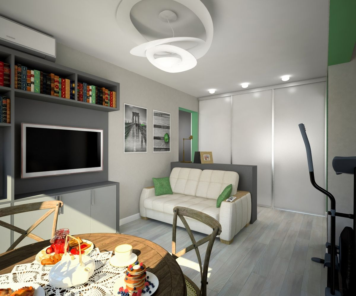 Walk-Through Living Room: Interior Design and Space Zoning. Gray ultramodern interior designed room with dining zone and cosmic chandelier over it