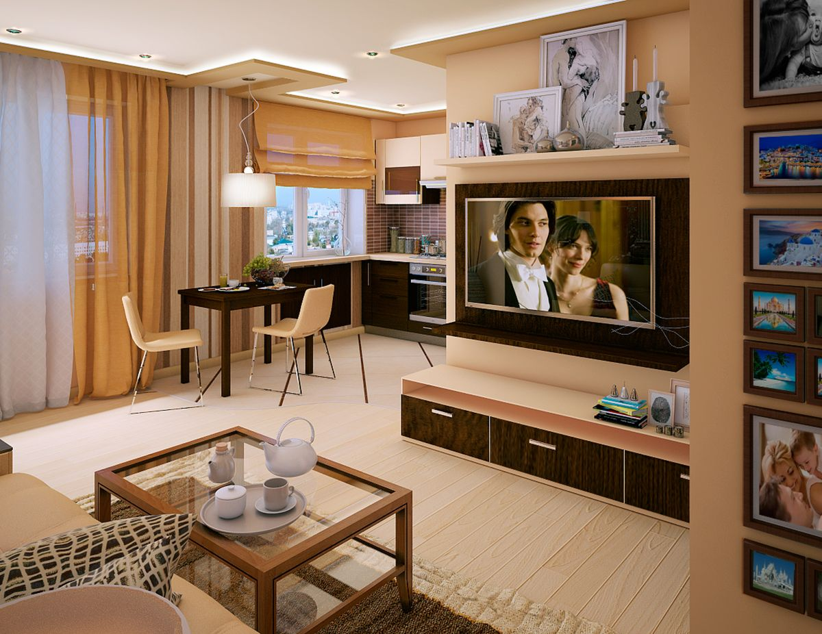 Modern deisgned multifunctional living room with sandy and yellow tints