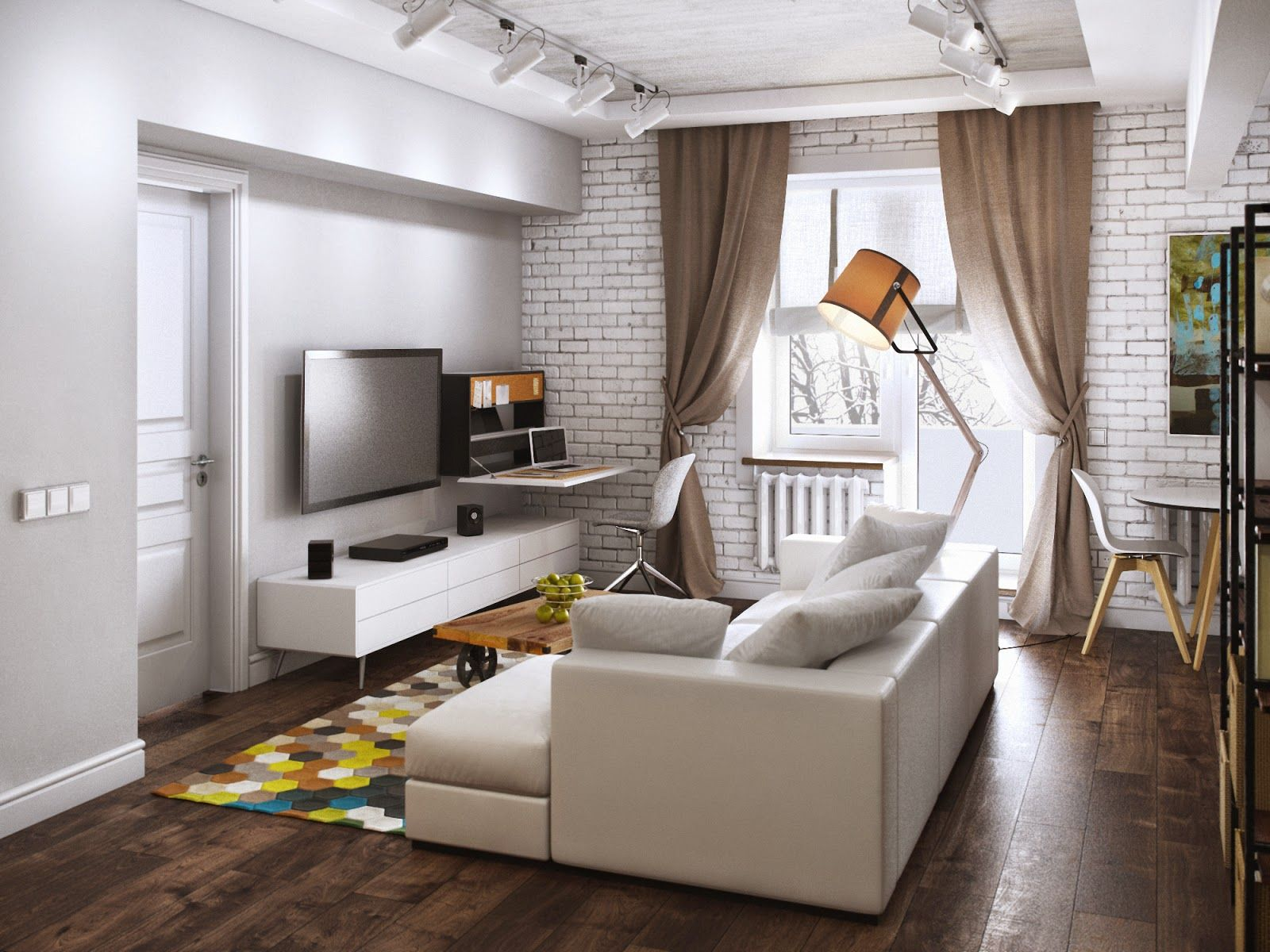 Contemporary mix of styled in one compact living room with large floor lamp and white color scheme for the room with ceiling lighting fixtures