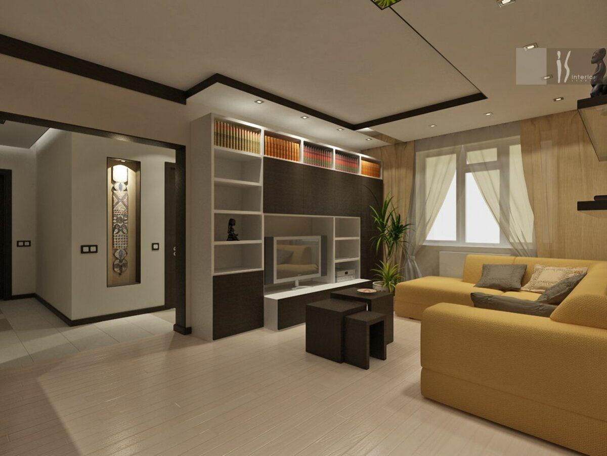 Dark brown tones to emphasize the borders for living room