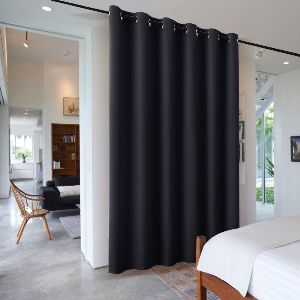 Interior Curtains: Stylish Zoning and Decoration Element. Contrasting black cloth in the rod