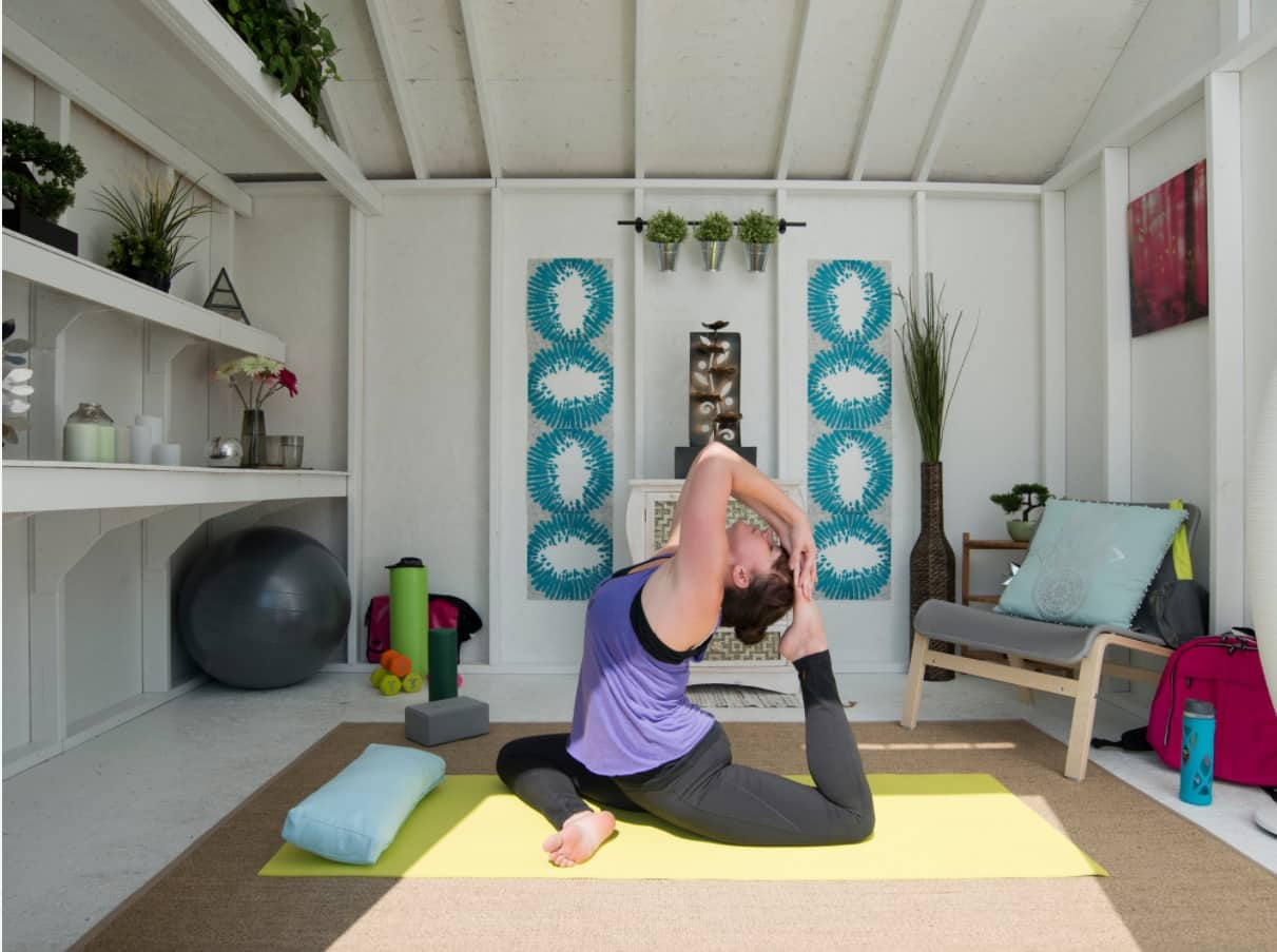 Alternative Ways to Use a Garden Shed. Simple casual design of the yoga space