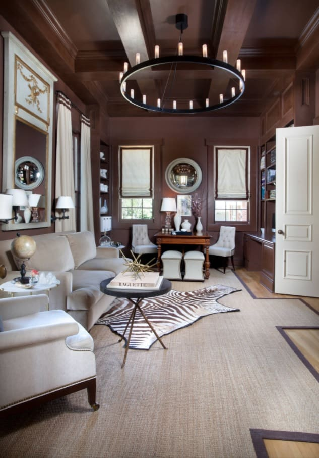 Best Townhouse Decor Ideas. Dark chocolate walls and light wooden floor for Classic living room