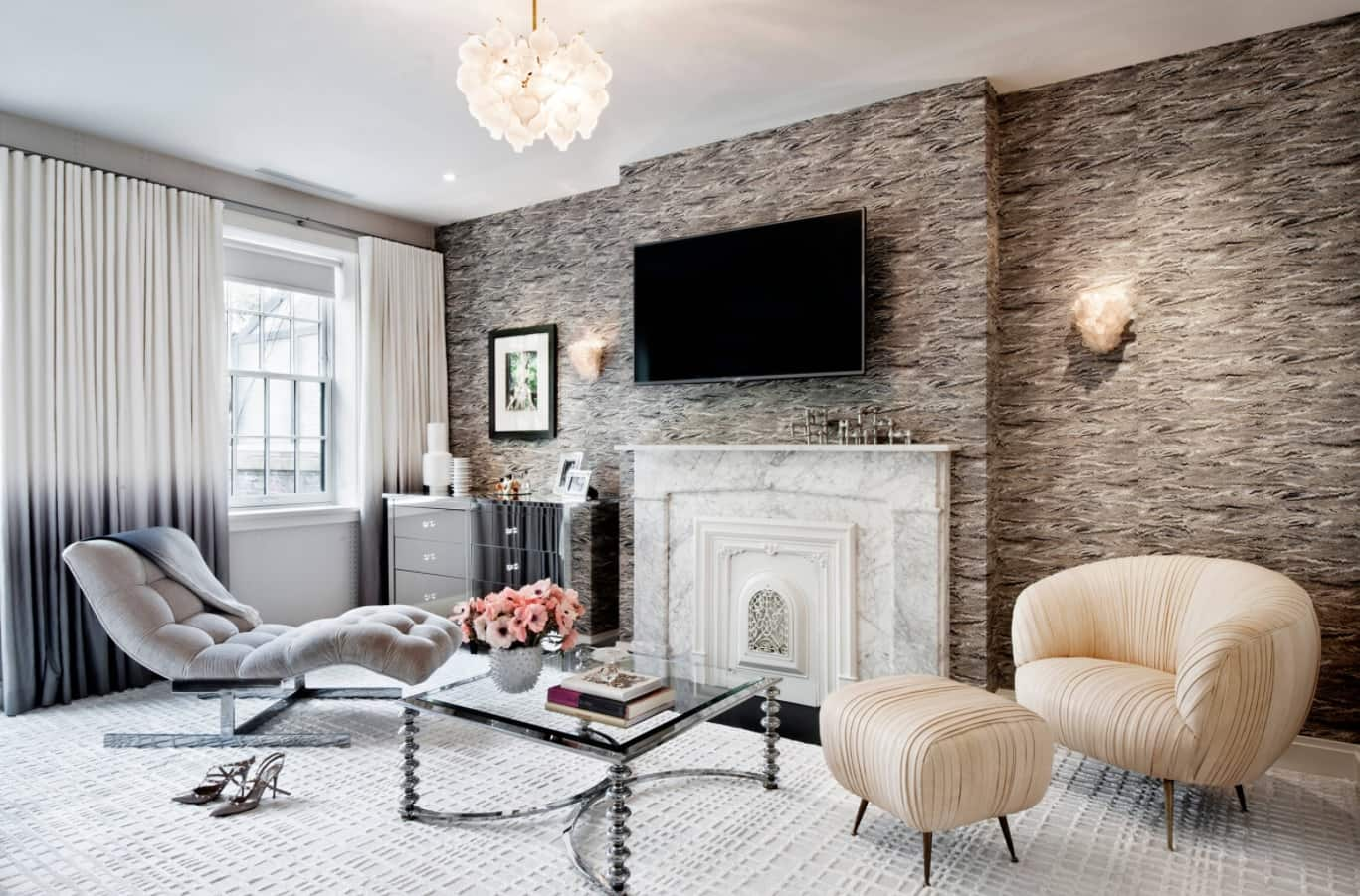 Best Townhouse Decor Ideas. Stone wall clasdding and light wooden laminated floor