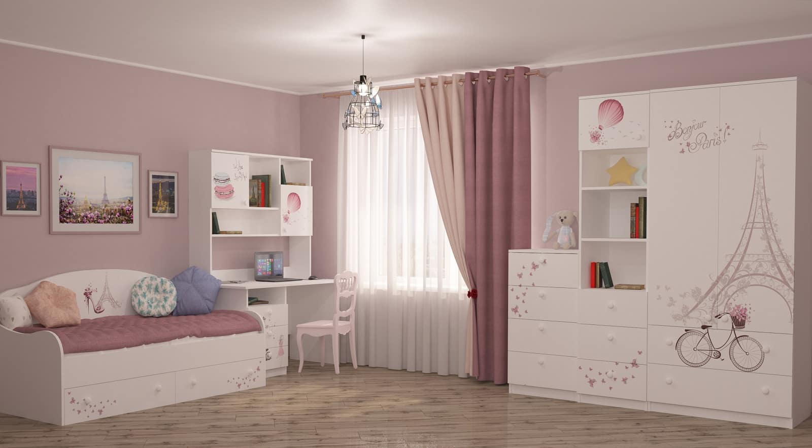 6 Tips For Designing Better Kids' Rooms. Simple decoration with pale pink walls, linoleum on the floor and white ceiling/furniture
