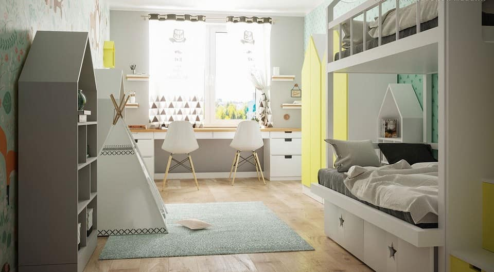 6 Tips For Designing Better Kids' Rooms. Yellow cabinet and pastel colored room