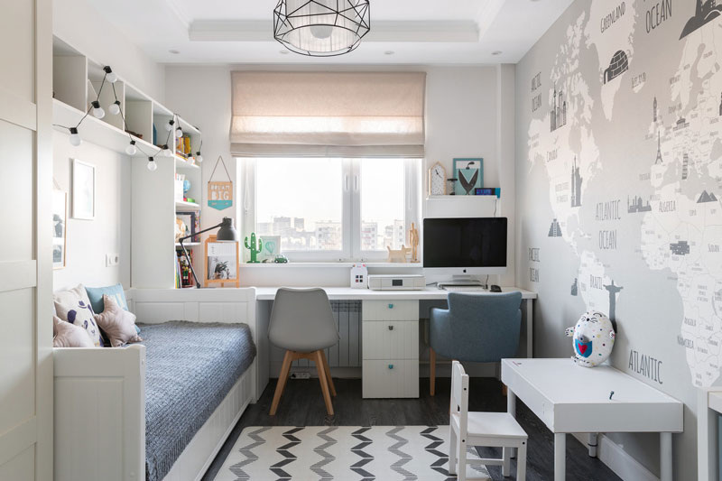 6 Tips For Designing Better Kids' Rooms. Scandinavian minimalism with all nevessary functional for small room