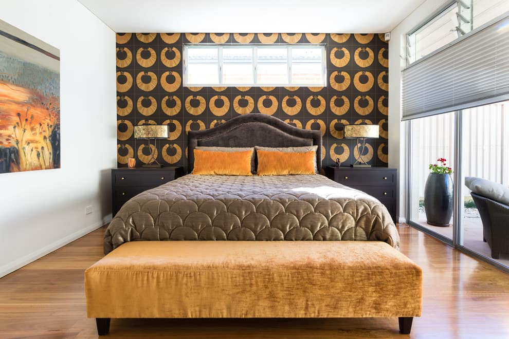 Black and orange wallpaper.