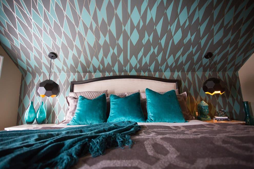 Light blue and black rhombs wallpaper decoration