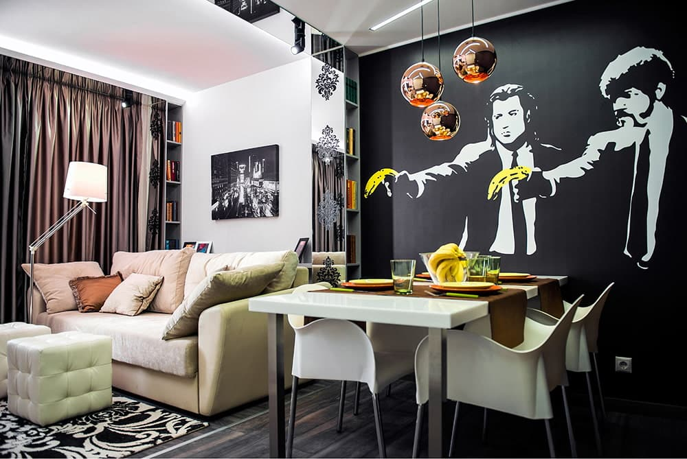 Black Wallpaper: Types, Patterns, Combining with Furniture and More. Photowallpaper with remaked cinema heroes of Pulp Fiction