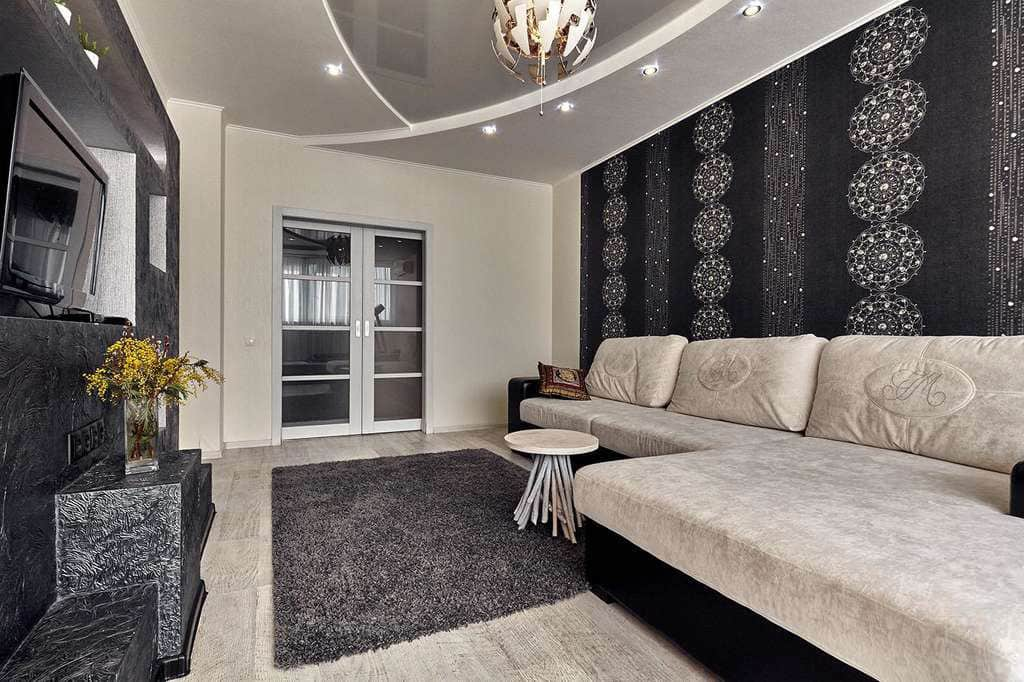 black and beige walls in the living room