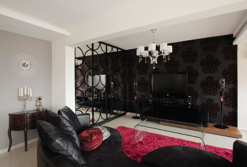 Black Wallpaper: Types, Patterns, Combining with Furniture and More. Textile wallpaper in the living room