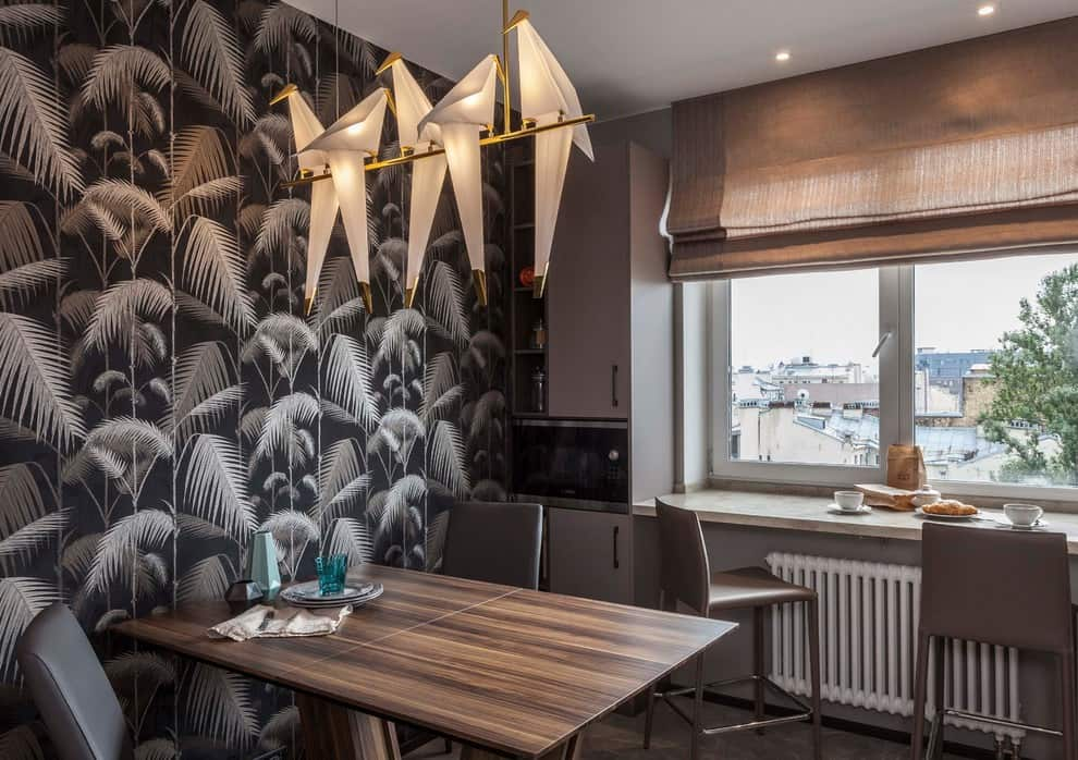 Nice small kitchen decoration with pattern on the wallpaper