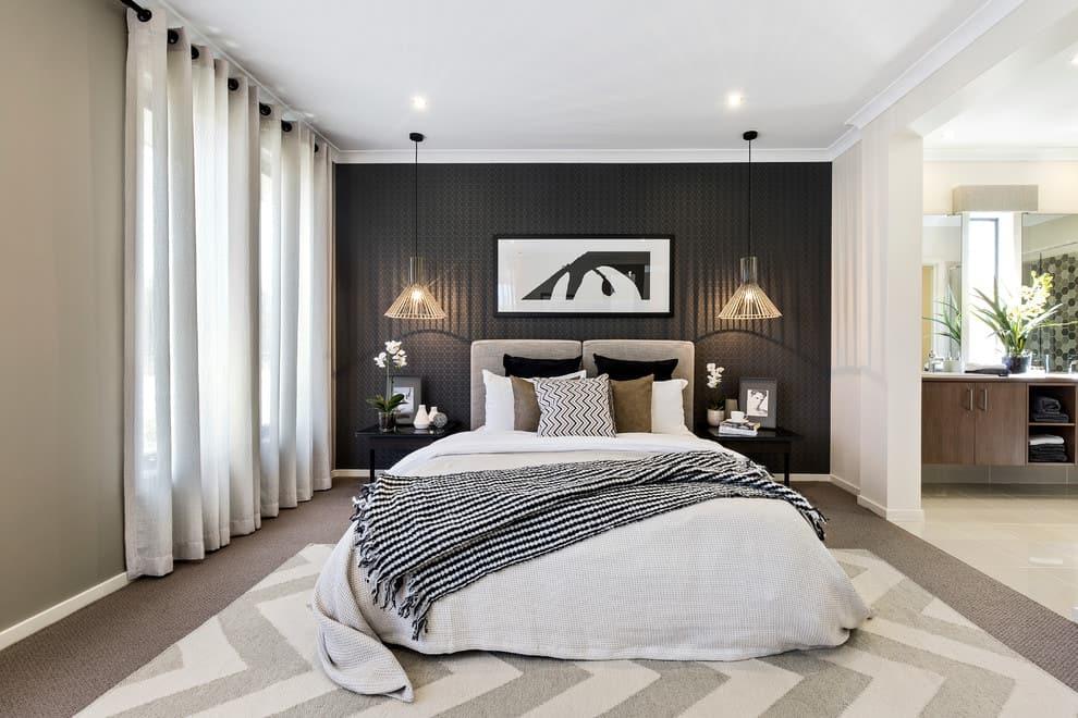 white curtains black wallpaper