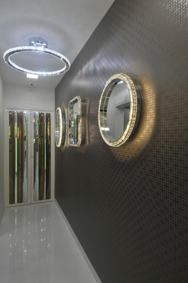 black wallpaper in the hallway