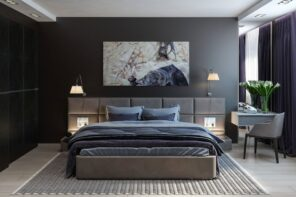 Decorating Ideas for Dark Bedroom Walls. Black accent headboard wall with picture and brown bed with soft headboard