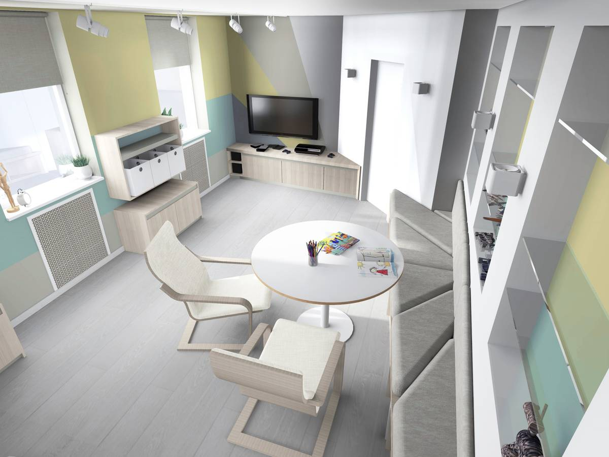 6 Simple Tips to Improve Your Family Game Room. Nice modern styled gaming space in white and pastel scheme