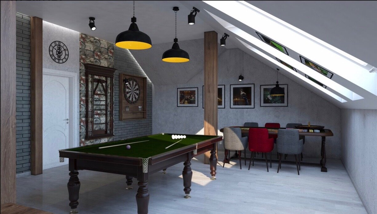 6 Simple Tips to Improve Your Family Game Room. Loft space with pool table and darts board