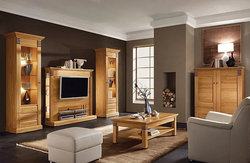 German Interior Design Style Overview and Examples. Wooden furniture, brown painted walls and large sash windows