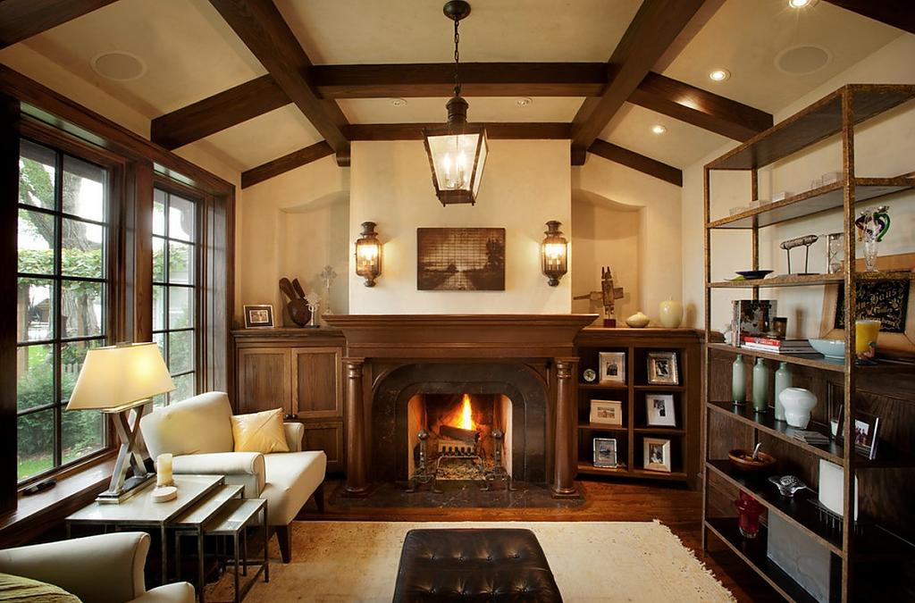dark noble wood as a decoration option of Classic German house with the fireplace