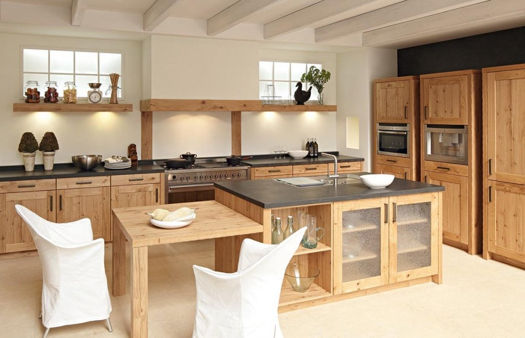 Laconic interior design with unusual wooden blacktop furniture