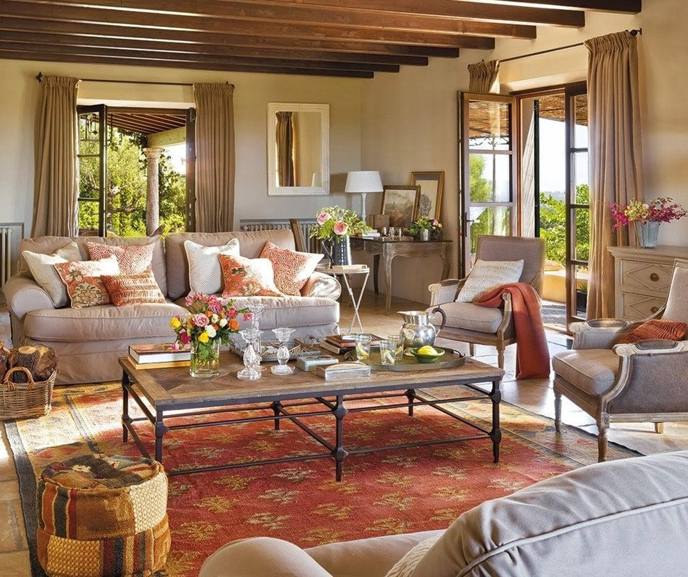 German Interior Design Style Overview and Examples. Exposed ceiling beams in the open space living room with glass coffee table