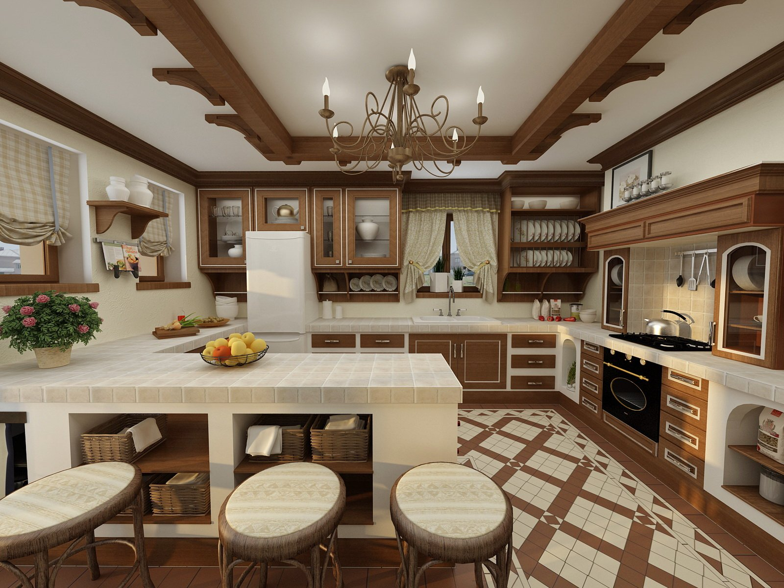 German Interior Design Style Overview and Examples. Nice ethnic fachwerk finishing if the white colored kitchen