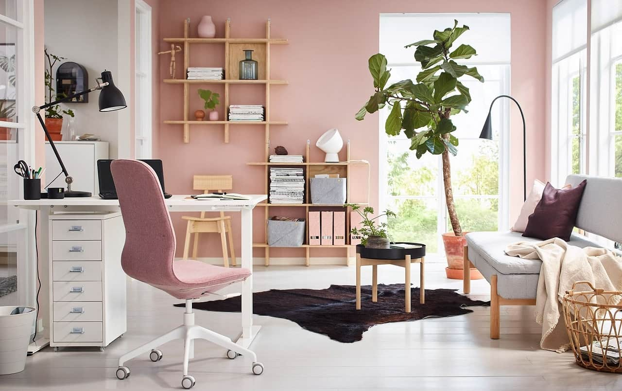 4 Ways to Make Your Home Office More Comfortable. Pink powder walls, large tree and panoramic window