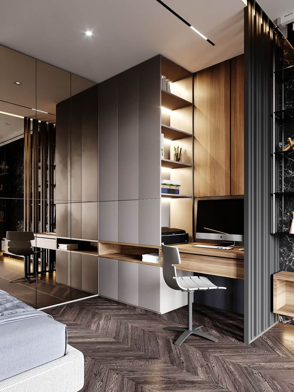 Easy Ways To Liven Up Your Home Office Space In 2021. Ultramodern home working space with high storage rack having LED lighting