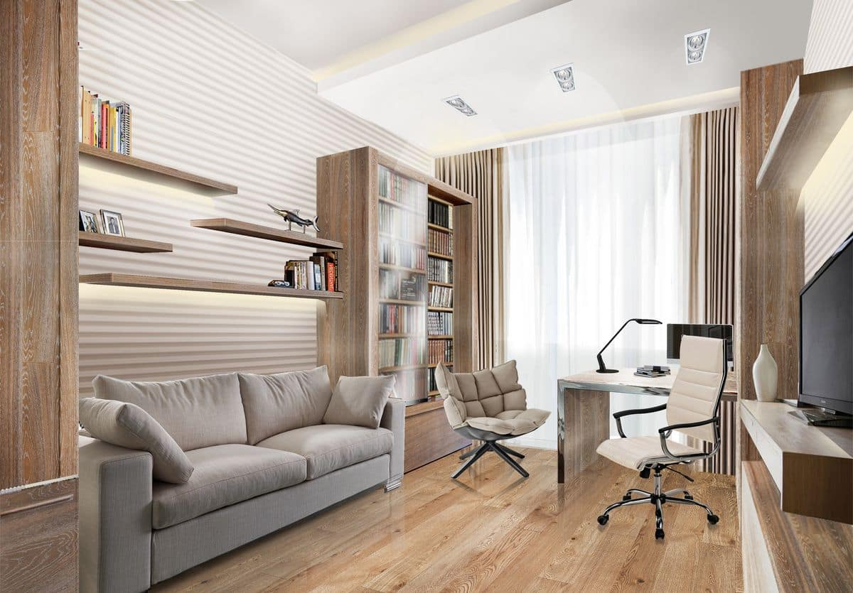 Easy Ways To Liven Up Your Home Office Space In 2021. Modern light pastel colored living room with working space