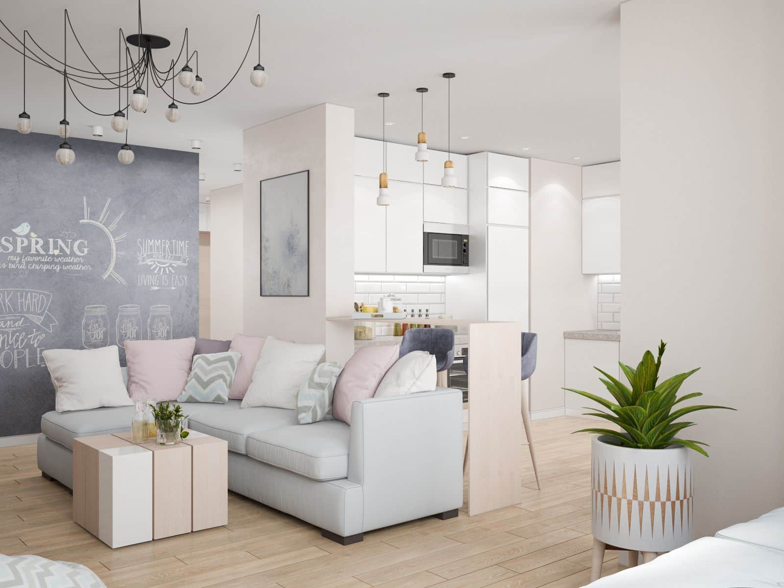 How to Maximise the Space in Your Home. Luxurious modern designed living room of open layout in light pastel colors with abundance of furnishing
