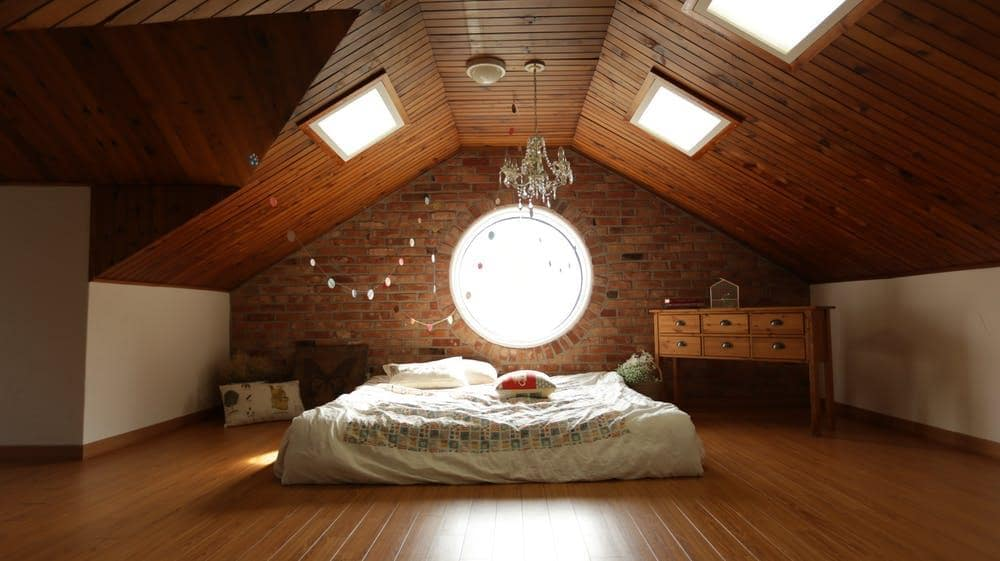 Protect Your Health with Organic Bedding and Pillows. Nice loft bedroom with platform bed and plank sheathing