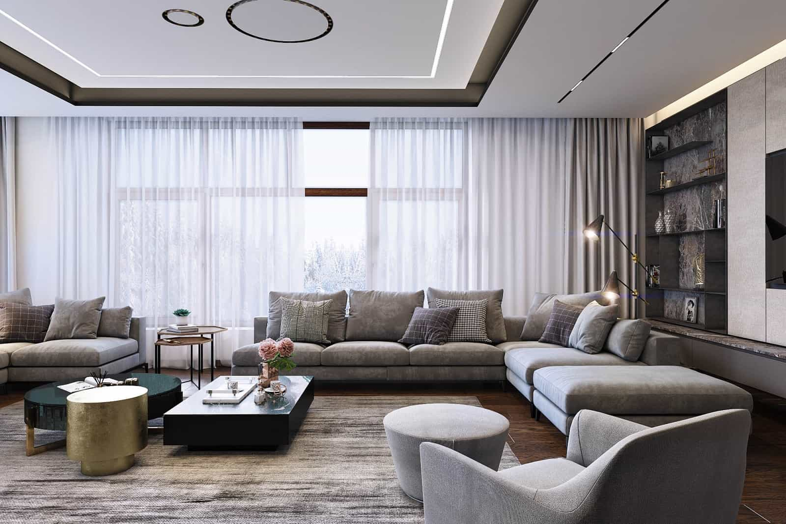 Selling Your House? Here Are 6 Ways to Make It More Attractive to Buyers. Great idea of hidden curtain rod and automatic mechanism for large modern designed living room with gray furnishings