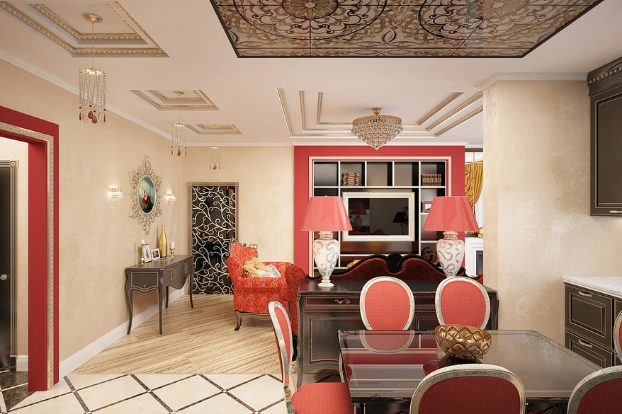 Spanish Interior Design Style Overview. Red furniture for moderate classic dining room with living zone