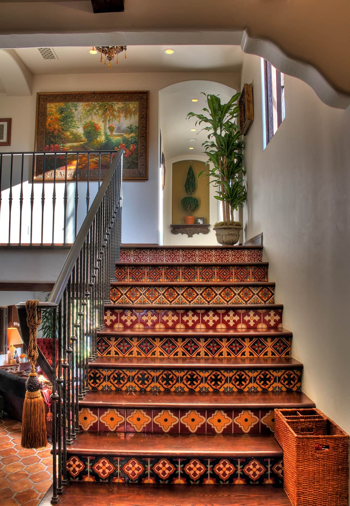 Spanish Interior Design Style Overview. Moroccan patterns on the tile to decorate the stairs