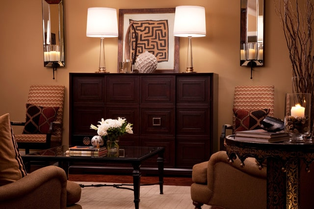 Spanish Interior Design Style Overview. Brown color scheme and natural materials for classic living room interior